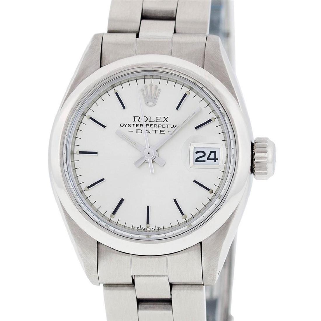 Rolex Ladies Stainless Steel Silver Index Smooth Bezel - 9