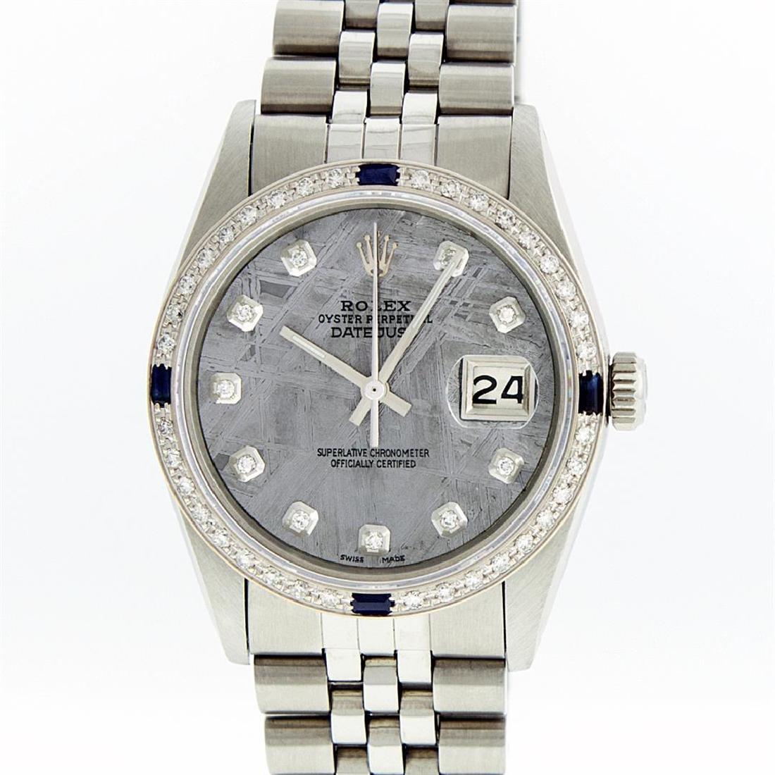 Rolex Stainless Steel Meteorite Diamond Sapphire