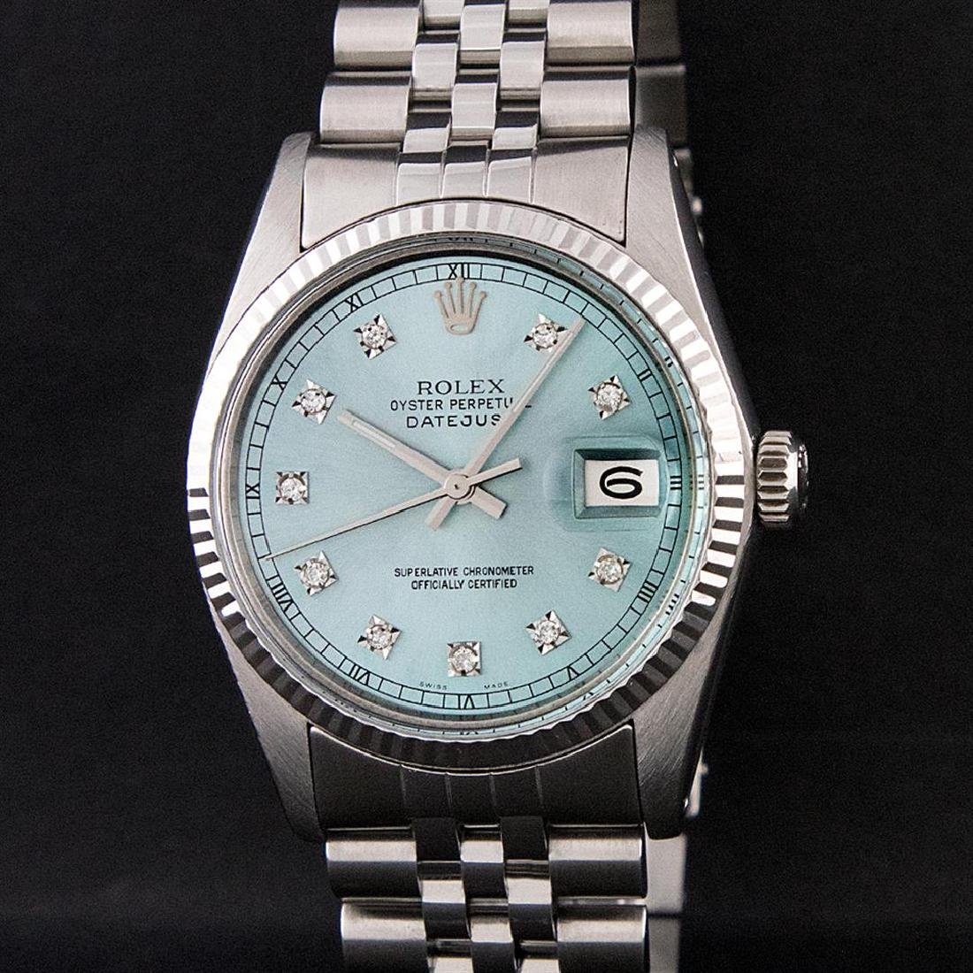 Rolex Mens Stainless Steel Ice Blue Diamond Quickset