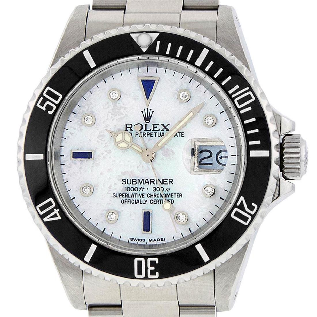 Rolex Mens Stainless Steel Mother Of Pearl Diamond 8 +