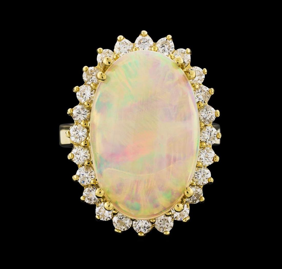 5.10 ctw Opal and Diamond Ring - 14KT Yellow Gold - 2