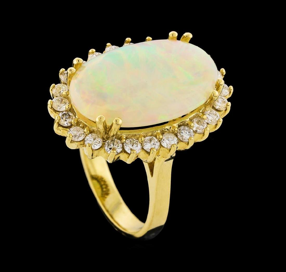 5.10 ctw Opal and Diamond Ring - 14KT Yellow Gold - 4