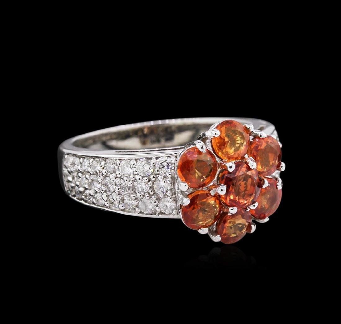 2.46 ctw Orange Sapphires and Diamond Ring - `14KT