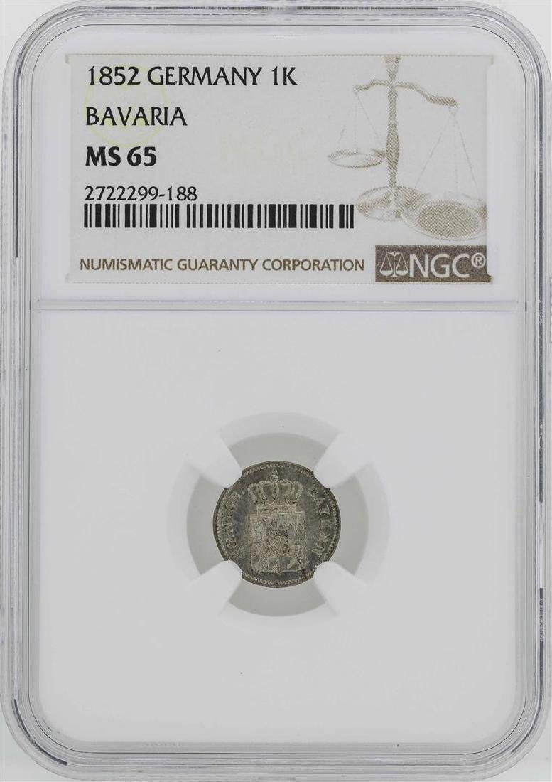 1852 Germany Bavaria Kreuzer Coin NGC MS65