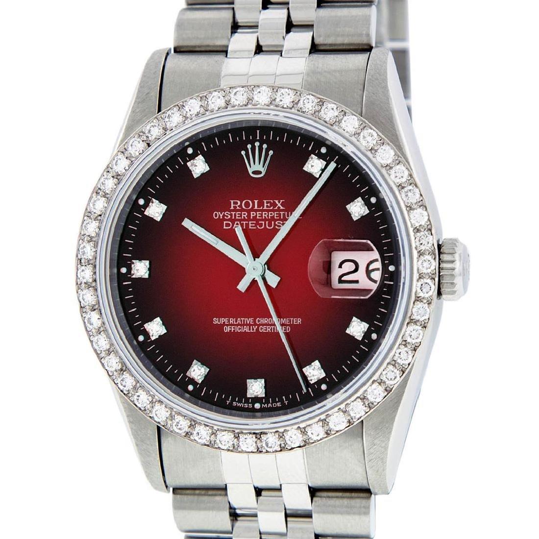 Rolex Mens Stainless Steel Red Vignette Diamond