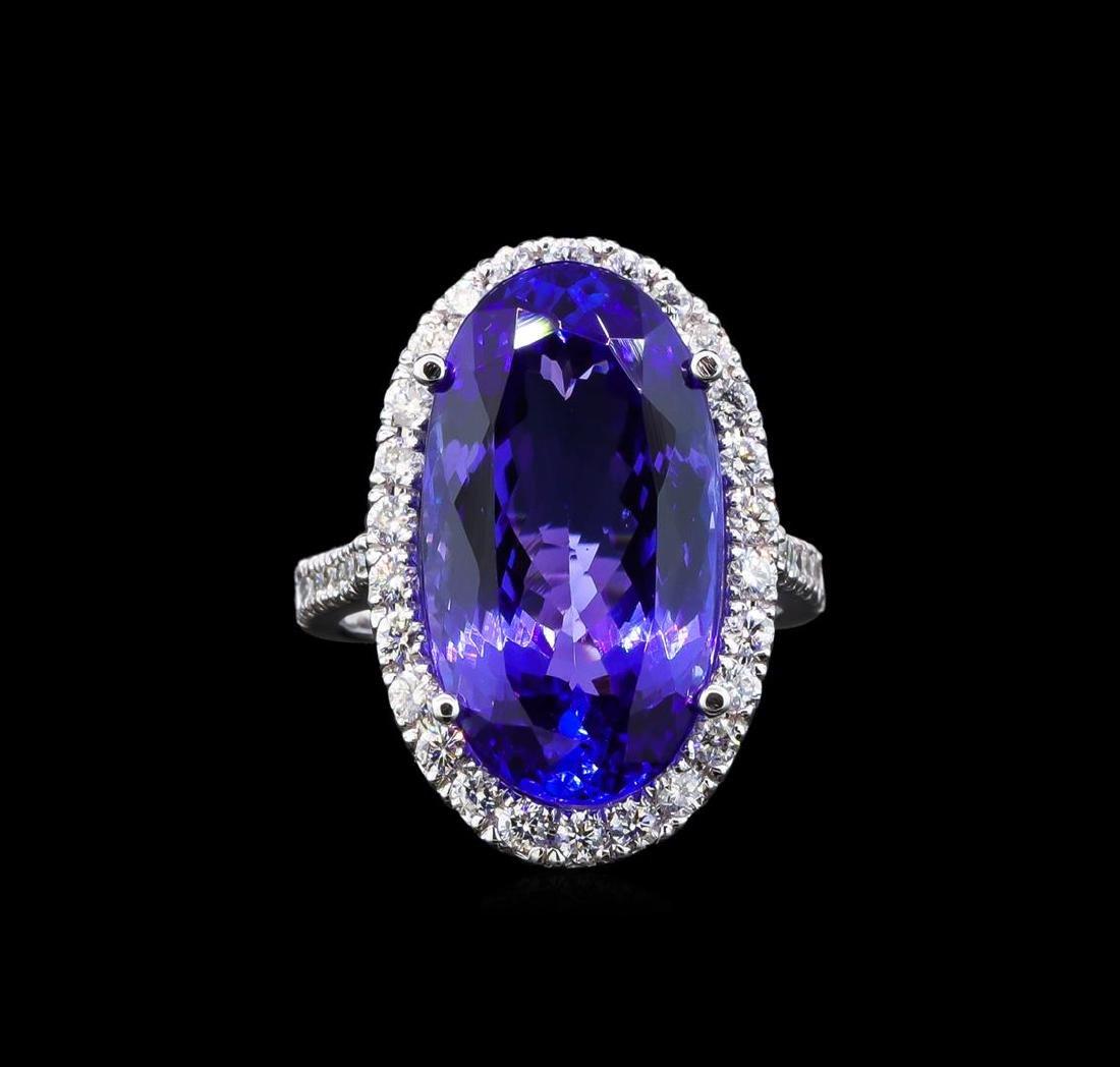 GIA Cert 14.53 ctw Tanzanite and Diamond Ring - 14KT - 2