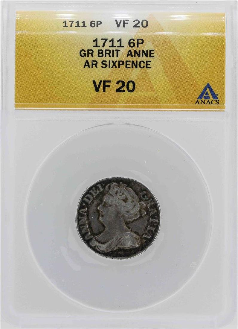 1711 Great Britain Queen Anne Six Pence Coin ANACS VF20