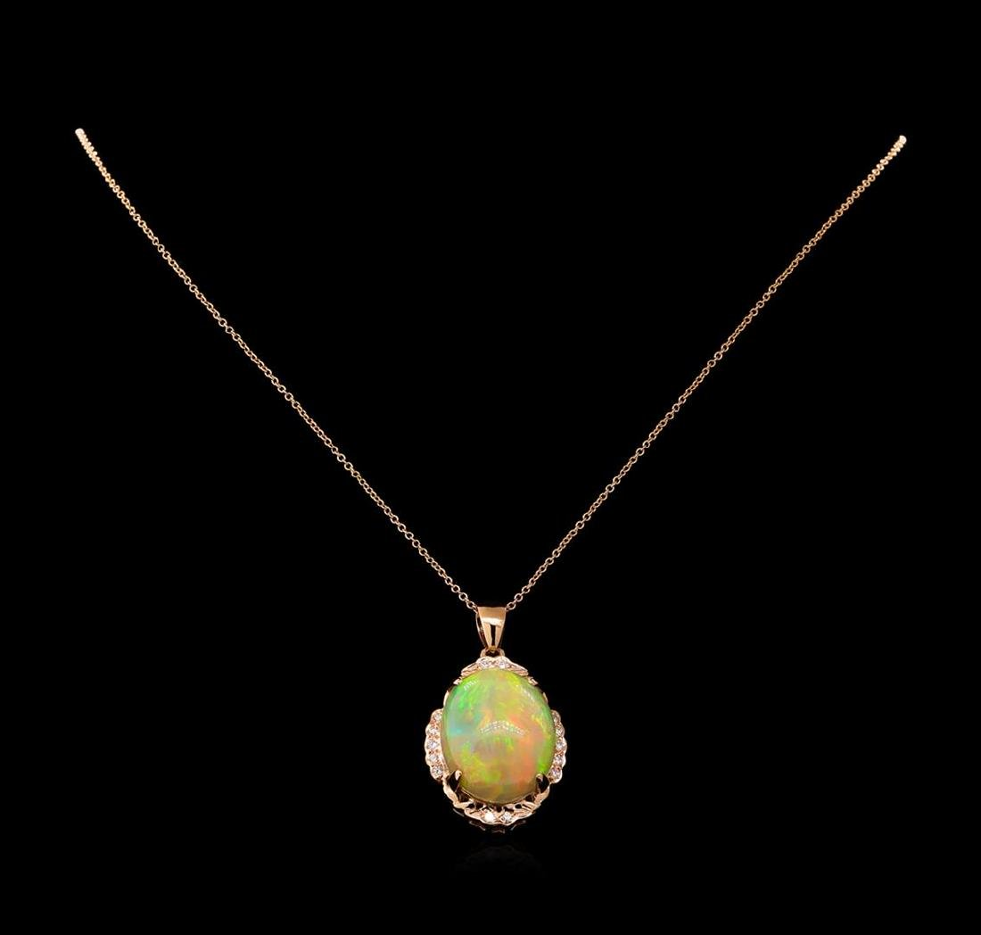 17.32 ctw Opal and Diamond Pendant With Chain - 14KT