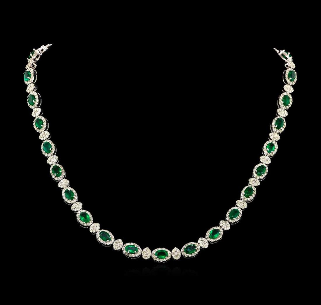 12.67 ctw Emerald and Diamond Necklace - 18KT White