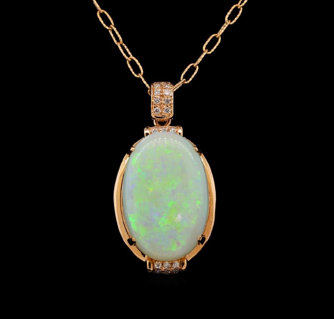 14KT Rose Gold 12.92 ctw Opal and Diamond Pendant With