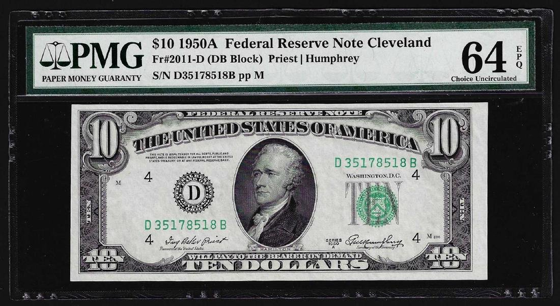 1950A $10 Federal Reserve Note Cleveland Fr. 2011-D PMG
