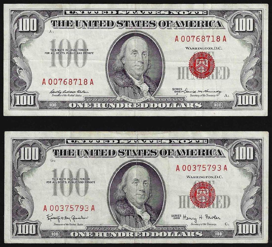 Lot of (2) 1966 $100 Legal Tender Notes