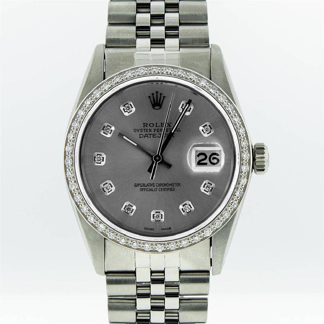 Rolex Mens Stainless Steel Slate Grey Diamond Datejust