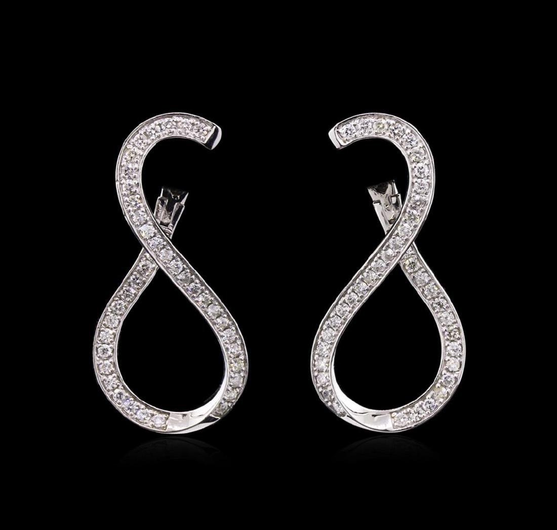 0.90 ctw Diamond Earrings - 14KT White Gold