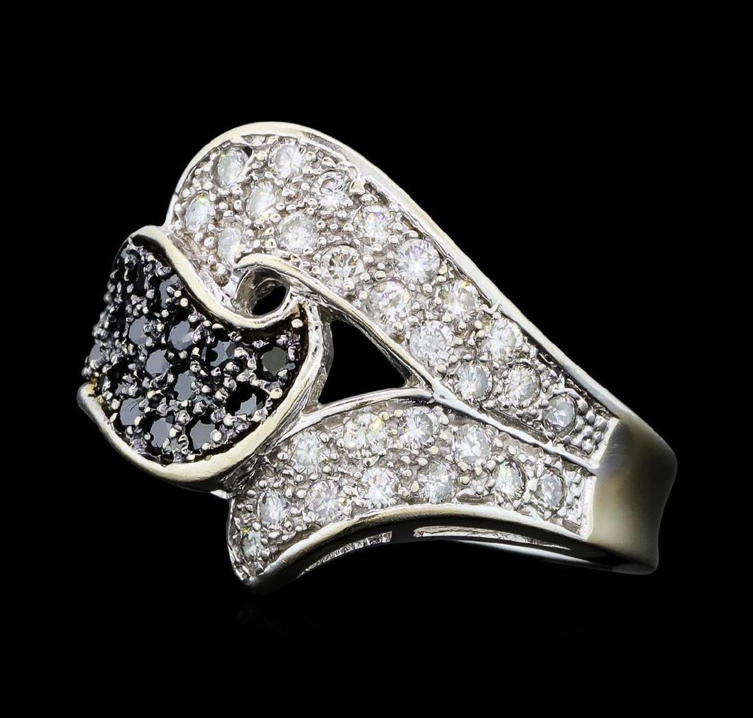 0.90 ctw White and Black Diamond Ring - 14KT White Gold