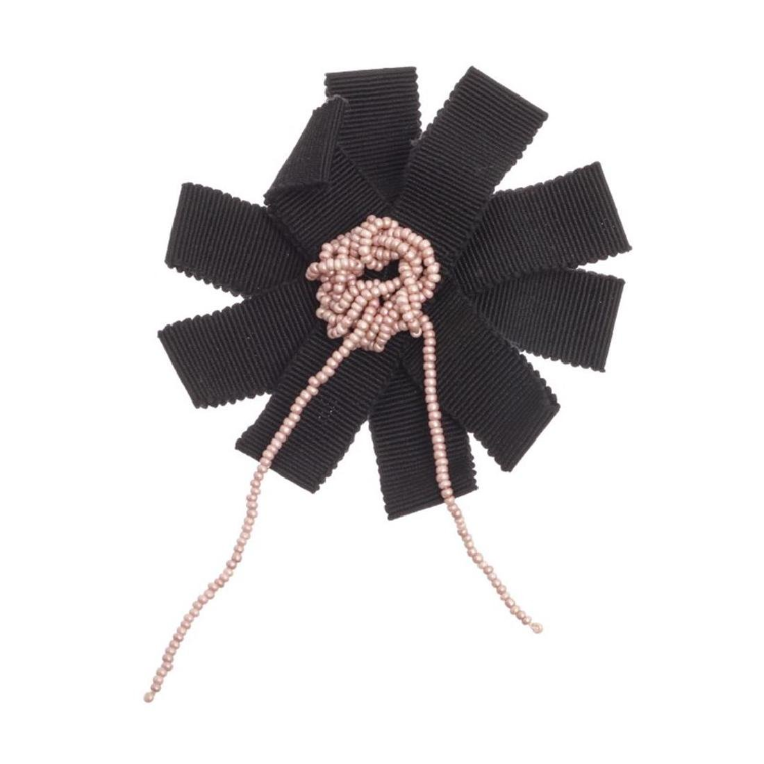 Chanel Black Ribbon Pink Beaded Center Camellia Flower