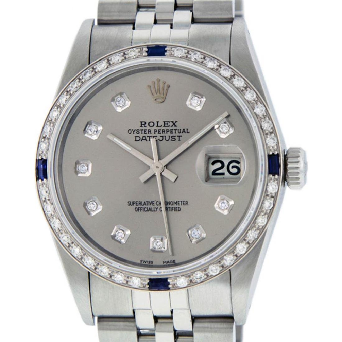 Mens Rolex Stainless Steel Slate Grey Diamond And
