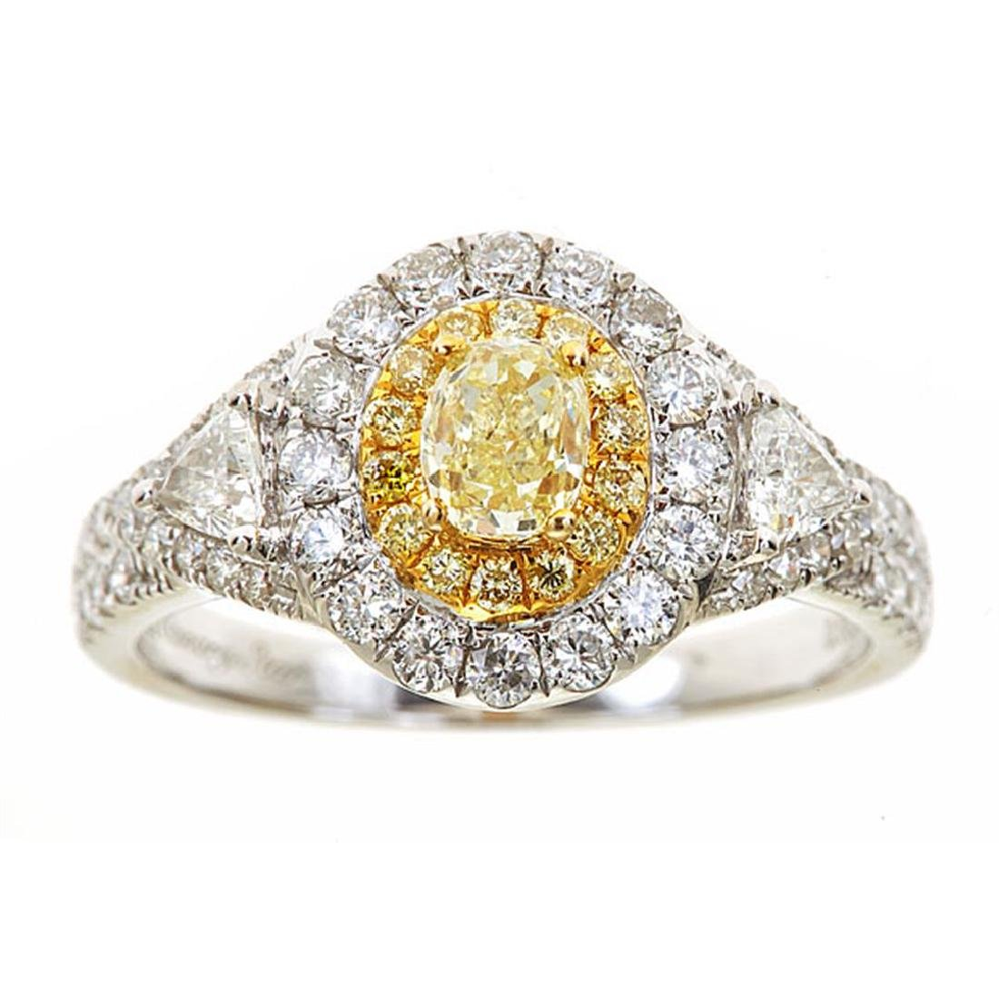 0.54 ctw Yellow and White Diamond Ring - 18KT White and
