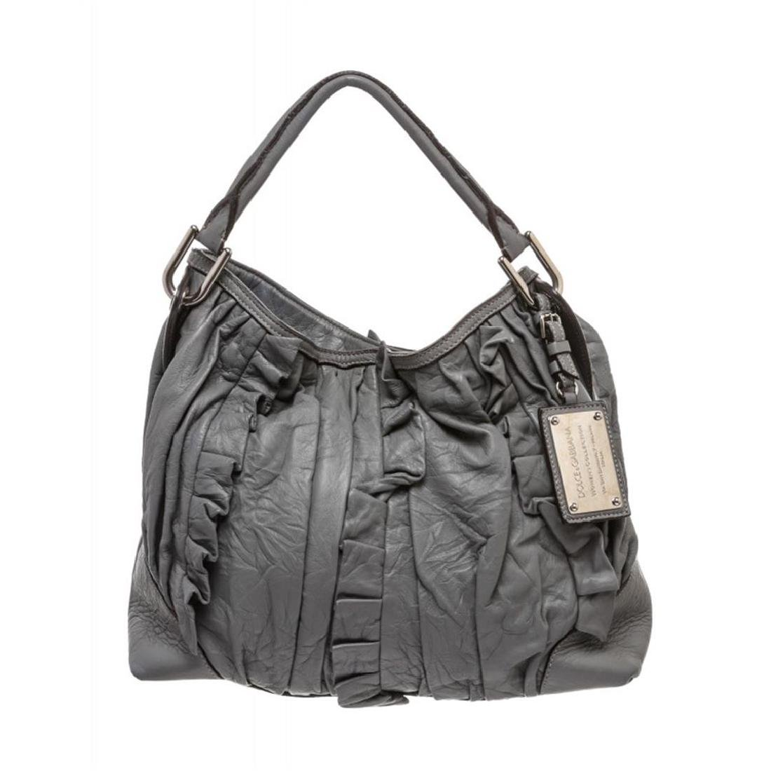 Dolce & Gabbana Gray Leather Ruffle Miss Brooke Ruffle