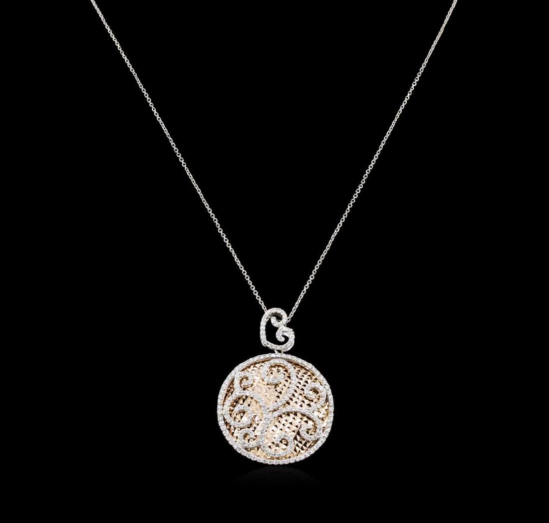 1.55 ctw Diamond Pendant With Chain - 14KT Two-Tone