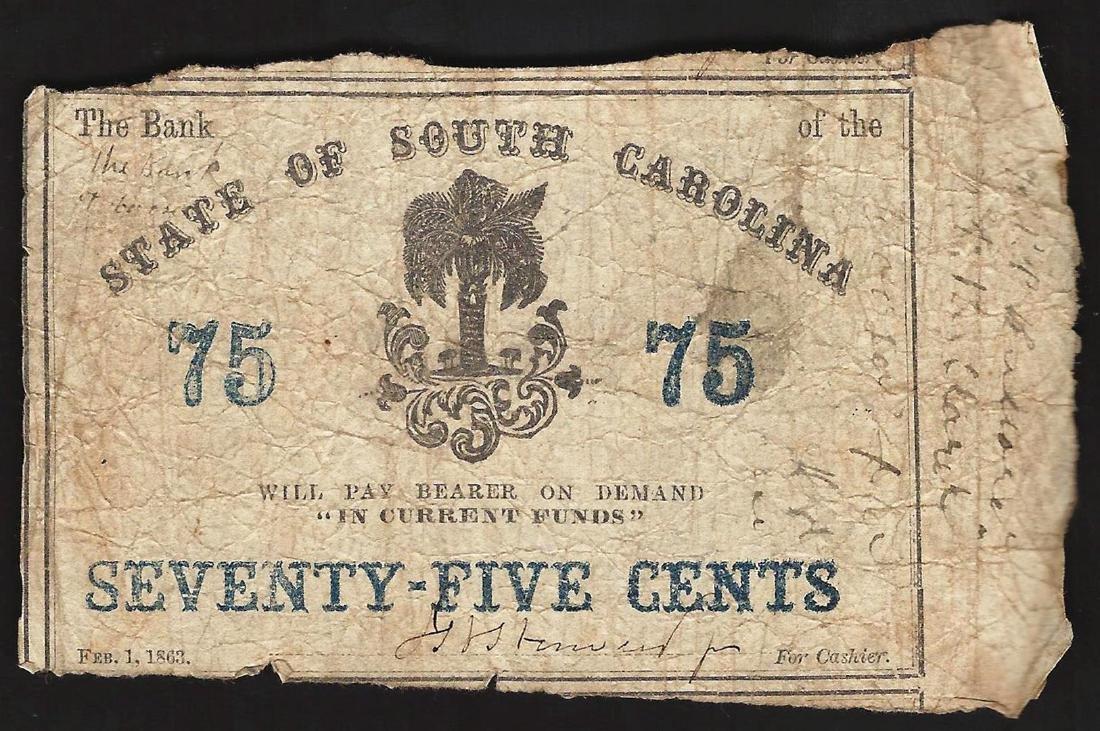 1863 Seventy Five Cents State of South Carolina