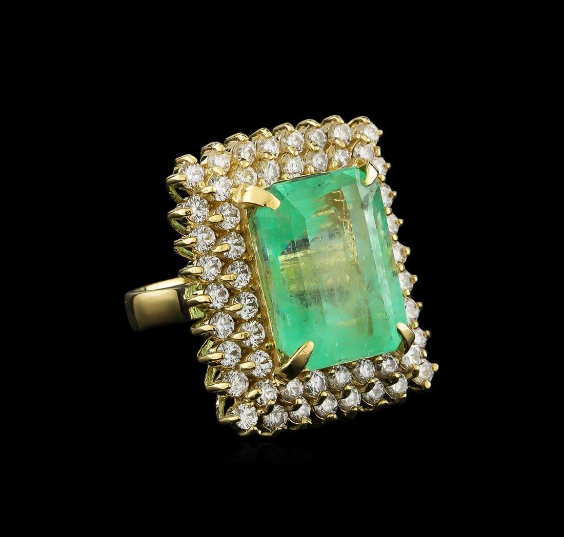 GIA Cert 19.72 ctw Emerald and Diamond Ring - 14KT