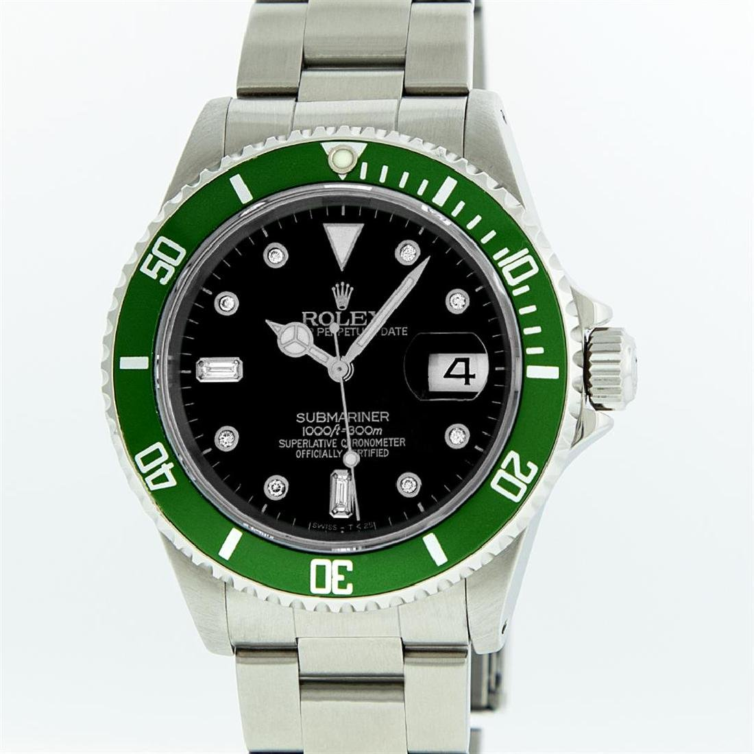 Rolex Stainless Steel Diamond Submariner Men's Watch
