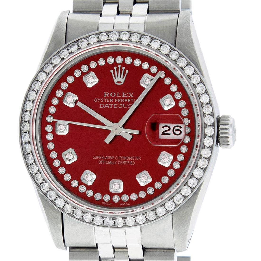 Rolex Mens 36mm Stainless Steel Red String Diamond