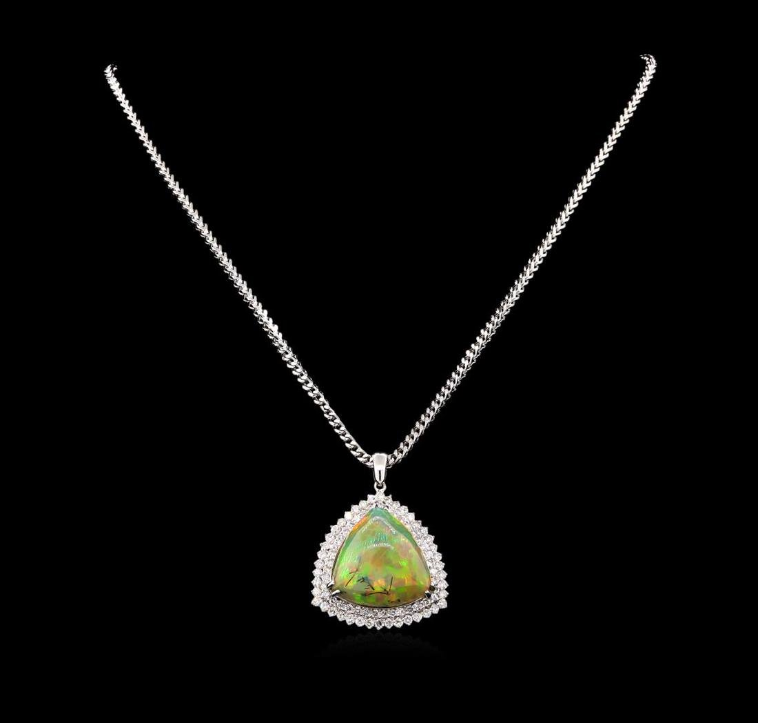 14KT White Gold 25.72 ctw Opal and Diamond Pendant with