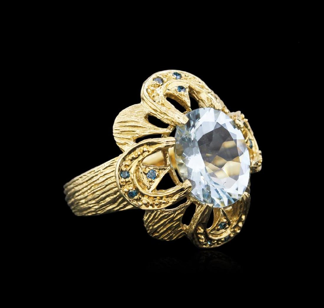 14KT Yellow Gold 4.49 ctw Aquamarine and Blue Diamond