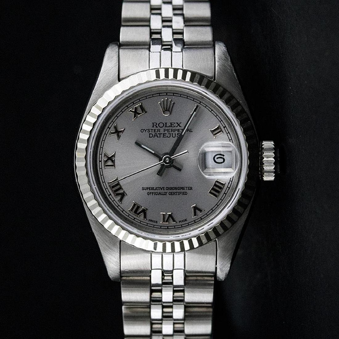 Ladies Rolex Stainless Steel Quickset Slate Grey Roman