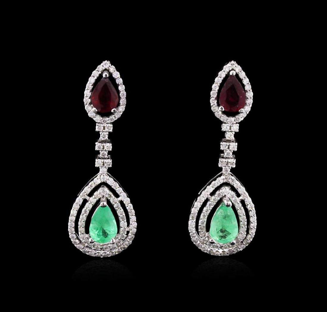 3.72 ctw Emerald, Ruby and Diamond Earrings - 14KT