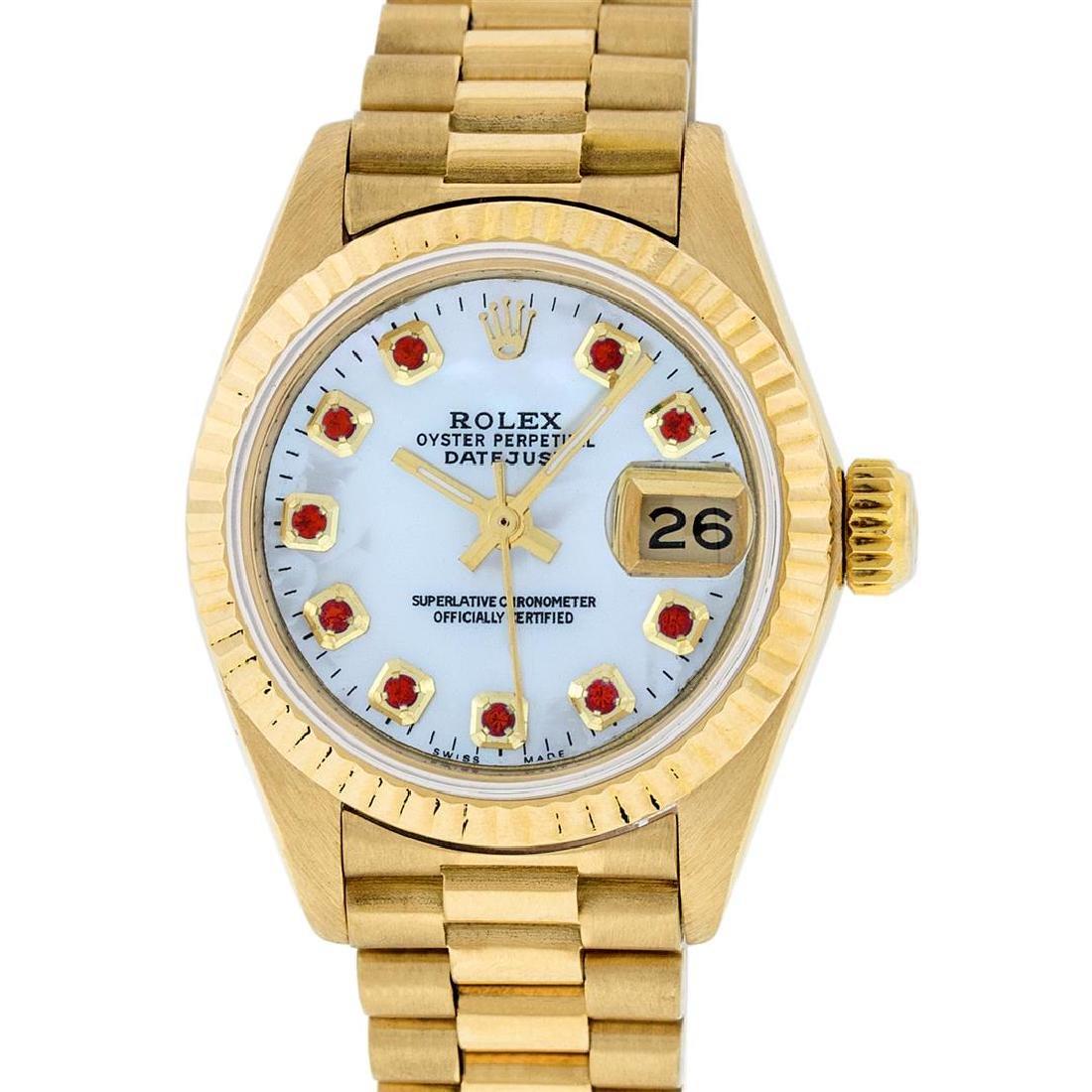 Rolex 18KT Gold President Ruby Ladies Watch