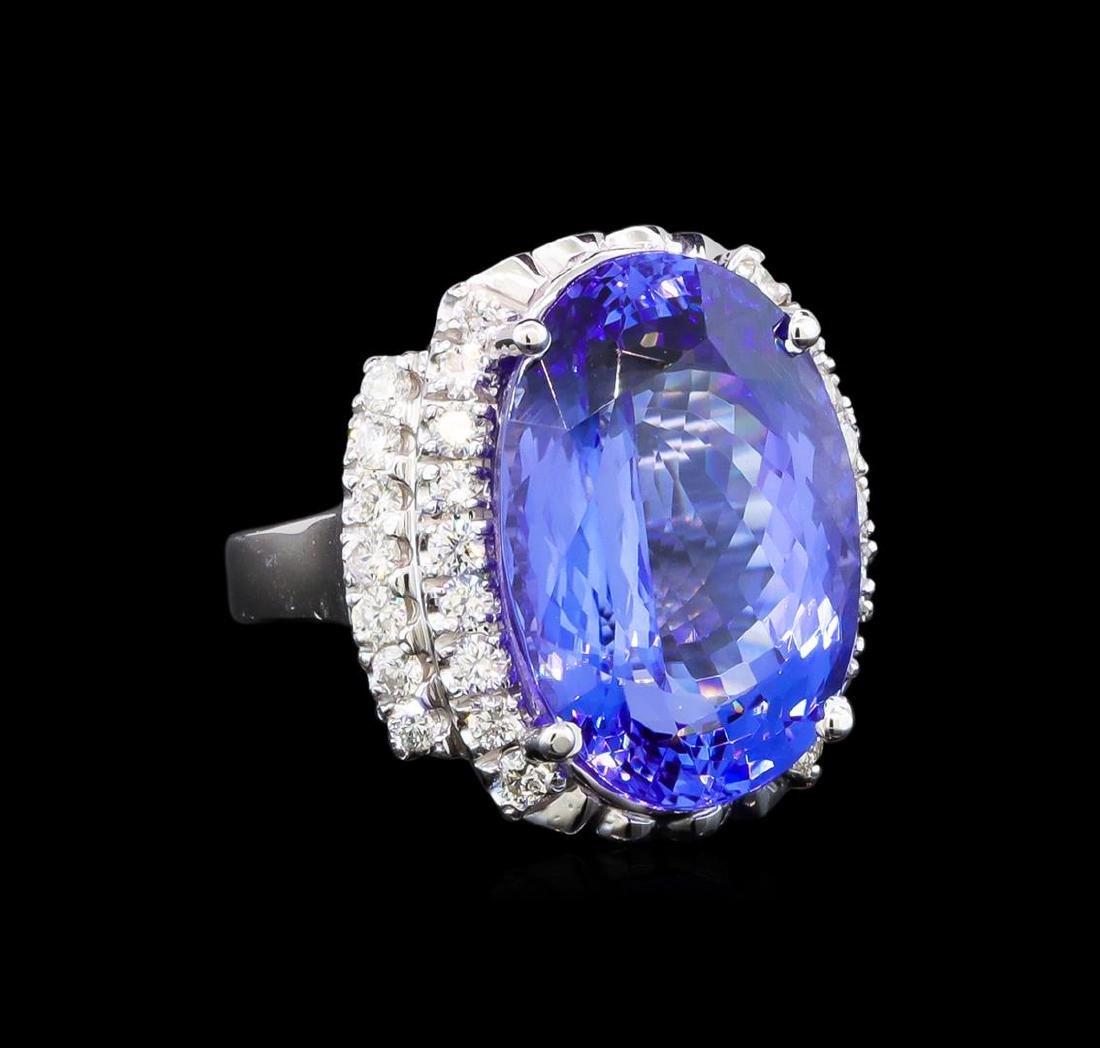 GIA Cert 17.55 ctw Tanzanite and Diamond Ring - 14KT