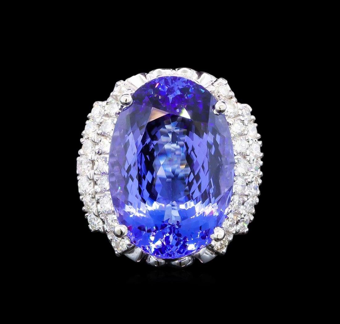 GIA Cert 17.55 ctw Tanzanite and Diamond Ring - 14KT - 2