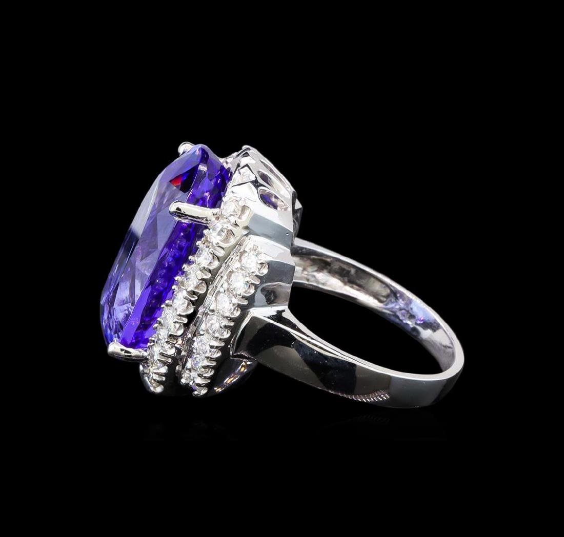 GIA Cert 17.55 ctw Tanzanite and Diamond Ring - 14KT - 3