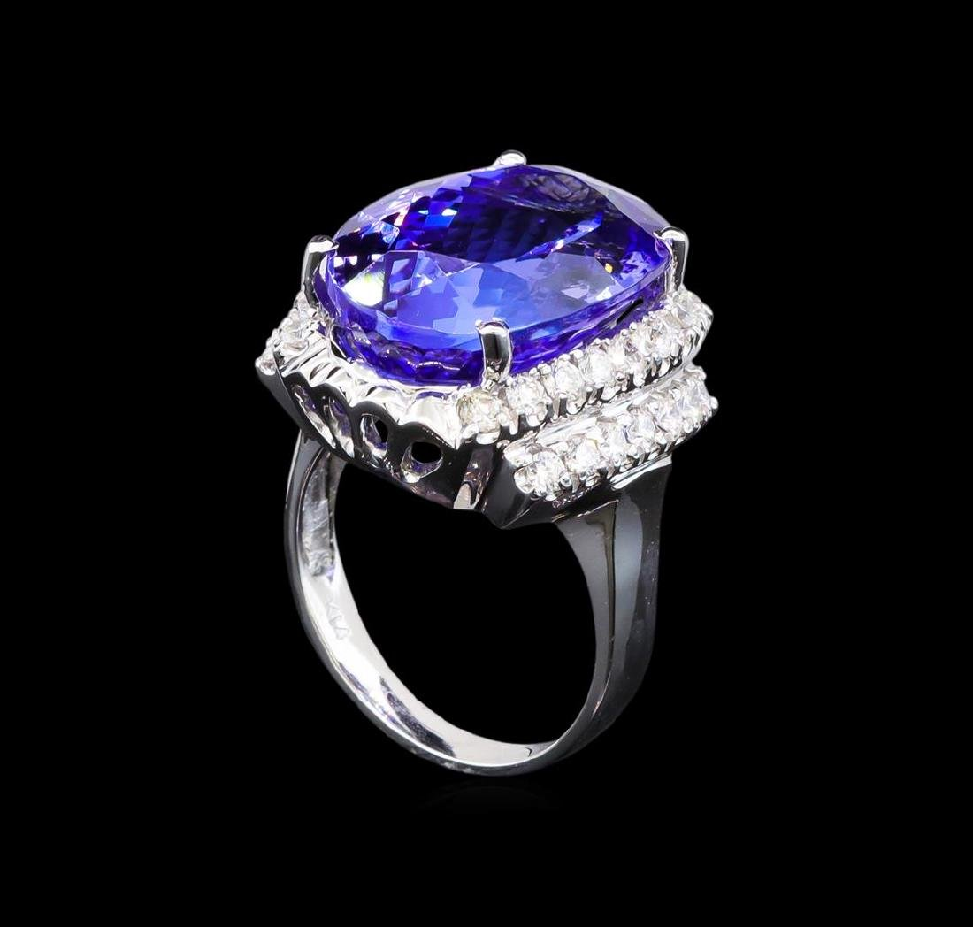 GIA Cert 17.55 ctw Tanzanite and Diamond Ring - 14KT - 4