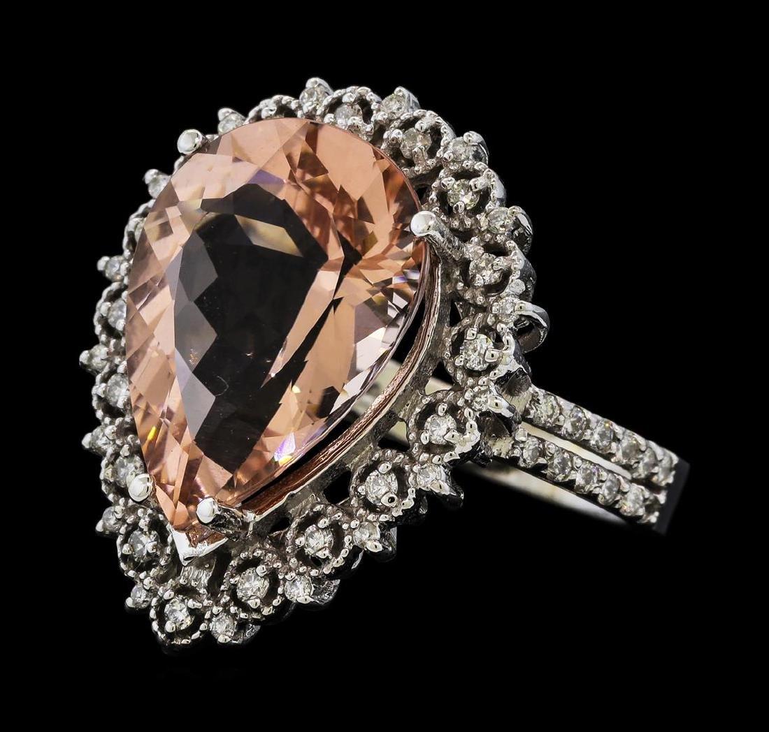 4.76 ctw Ametrine Quartz and Diamond Ring - 14KT White