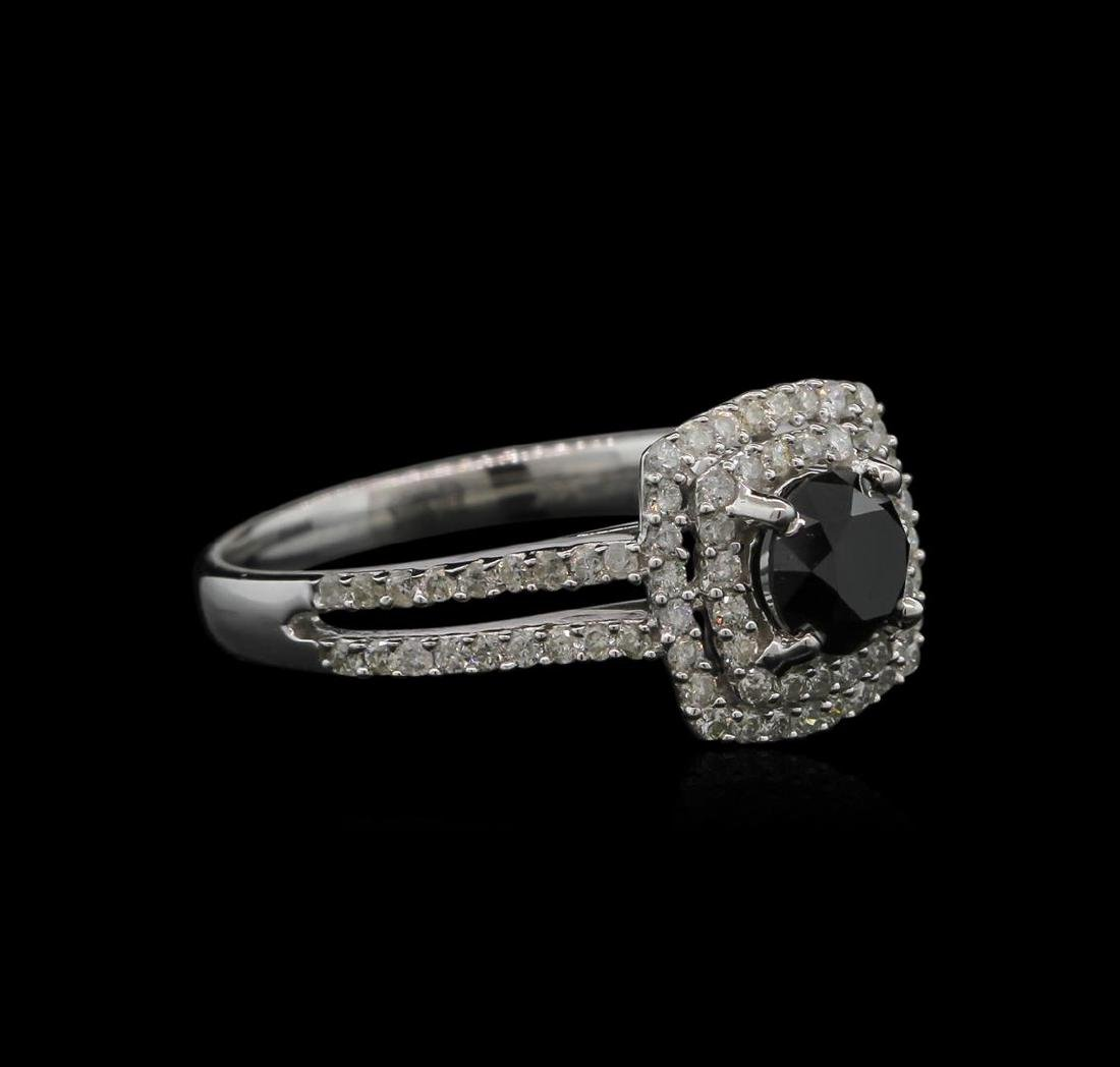 1.39 ctw Black Diamond Ring - 14KT White Gold