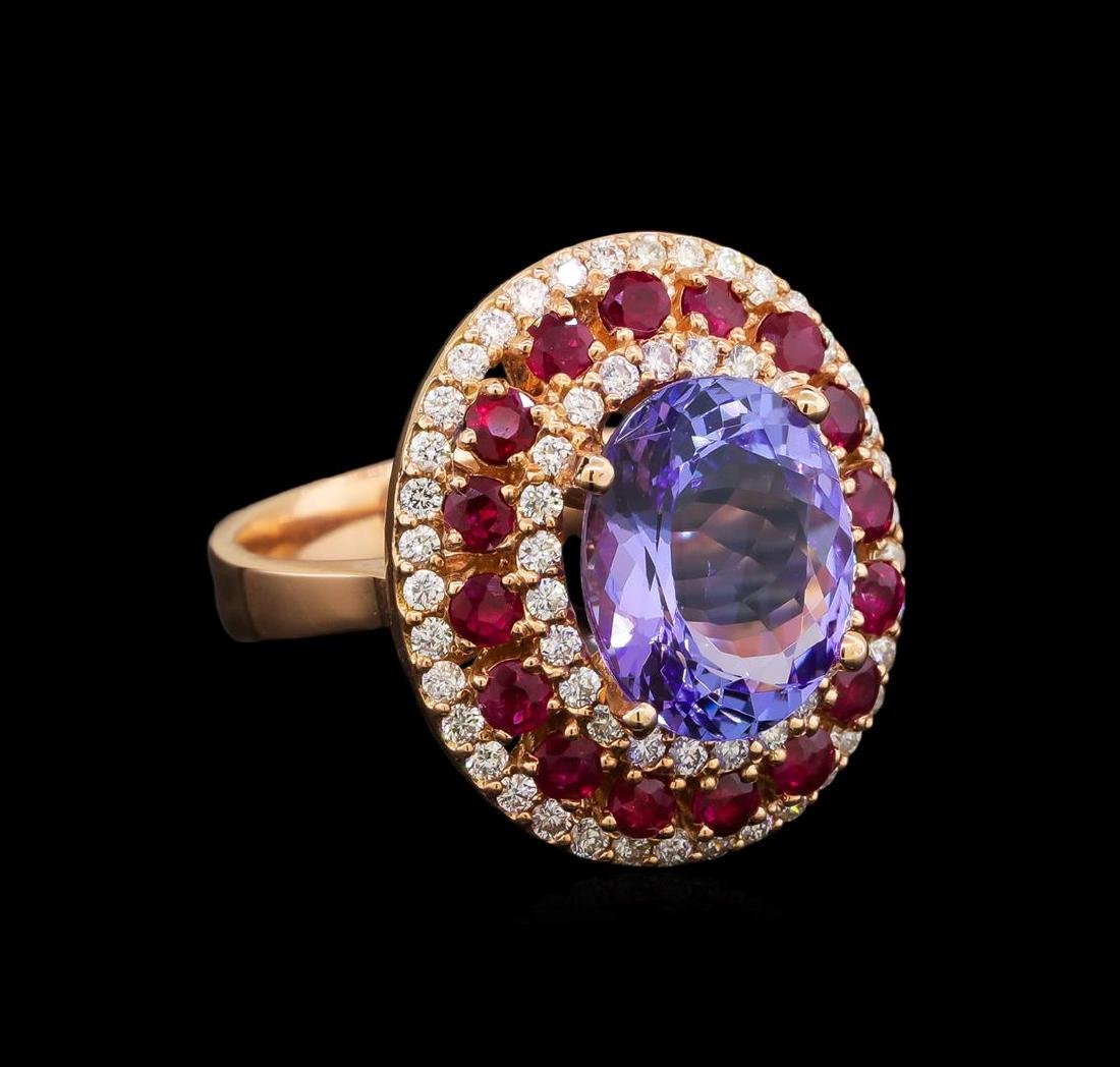 14KT Rose Gold 6.61 ctw Tanzanite, Ruby and Diamond