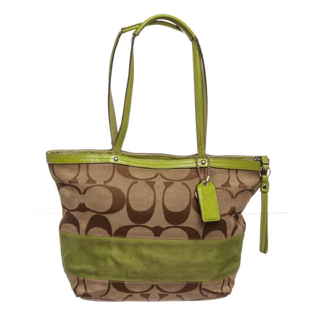 Coach Beige Green Canvas Leather Monogram Tote Bag