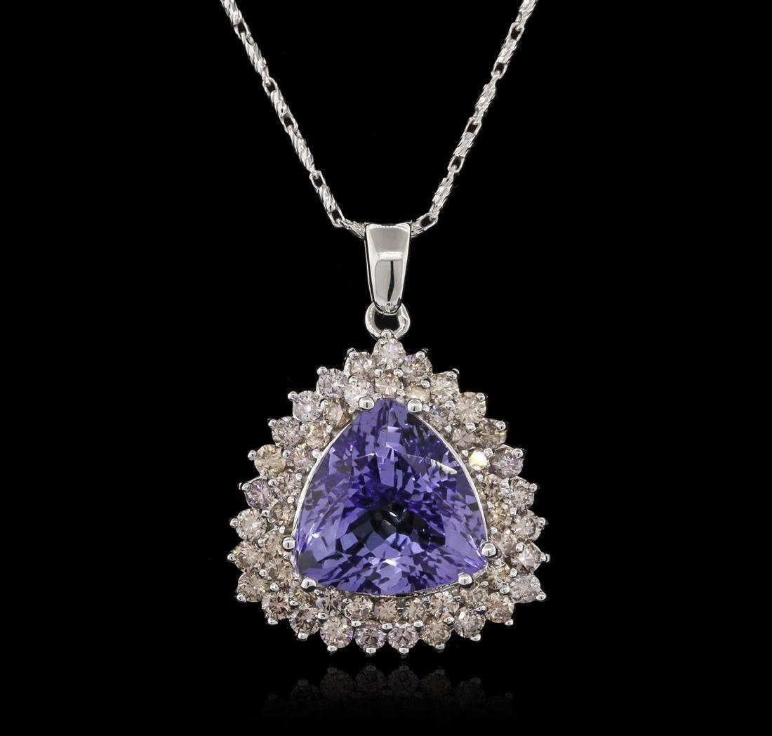11.38 ctw Tanzanite and Diamond Pendant With Chain -