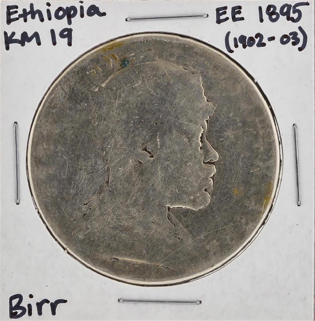 EE 1895 (1902-1903) Ethiopia KM 19 Birr Silver Coin