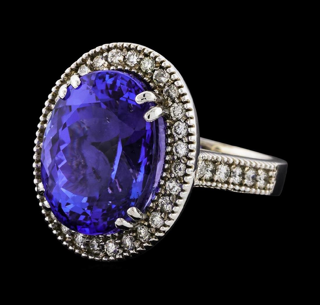 GIA Cert 15.48 ctw Tanzanite and Diamond Ring - 14KT
