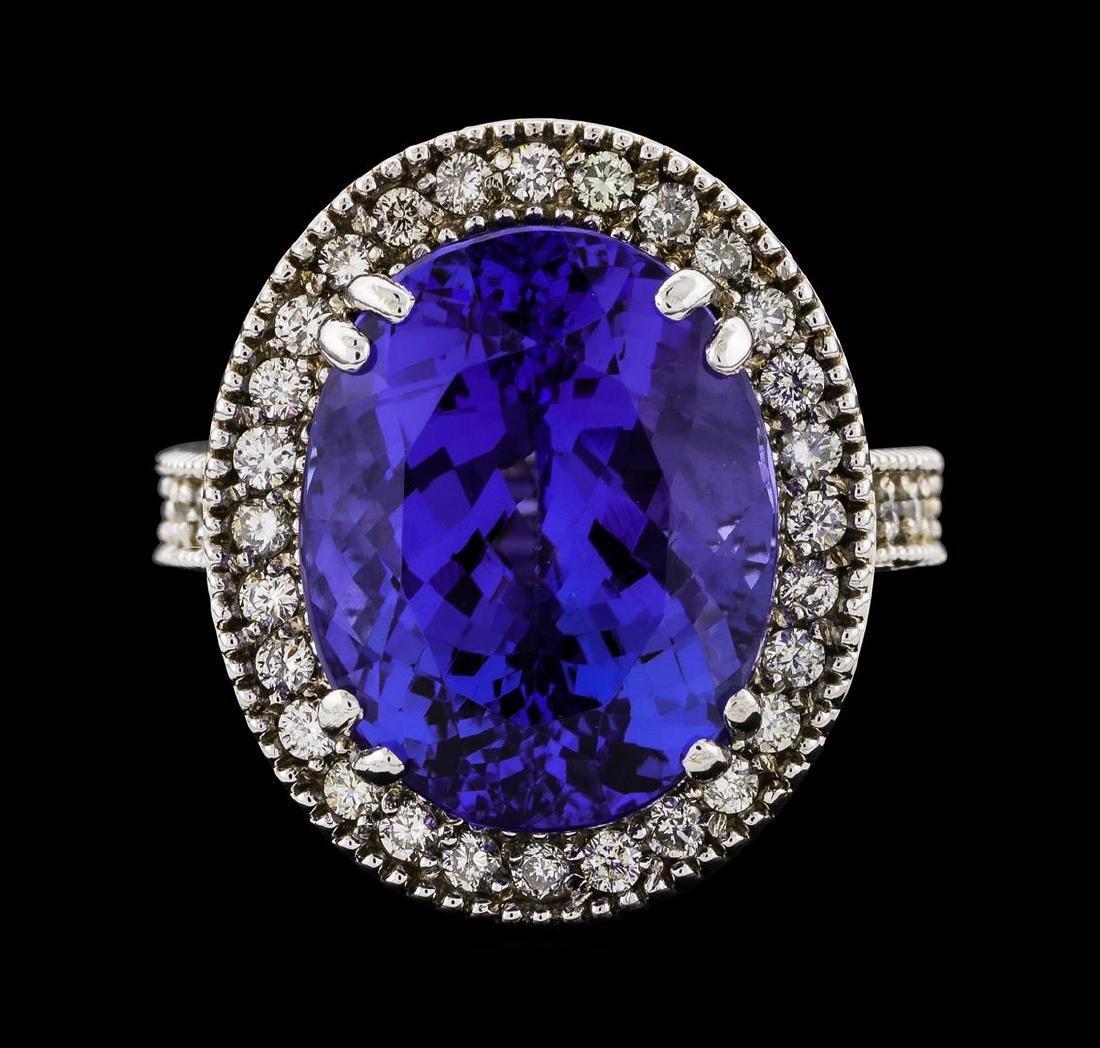 GIA Cert 15.48 ctw Tanzanite and Diamond Ring - 14KT - 2