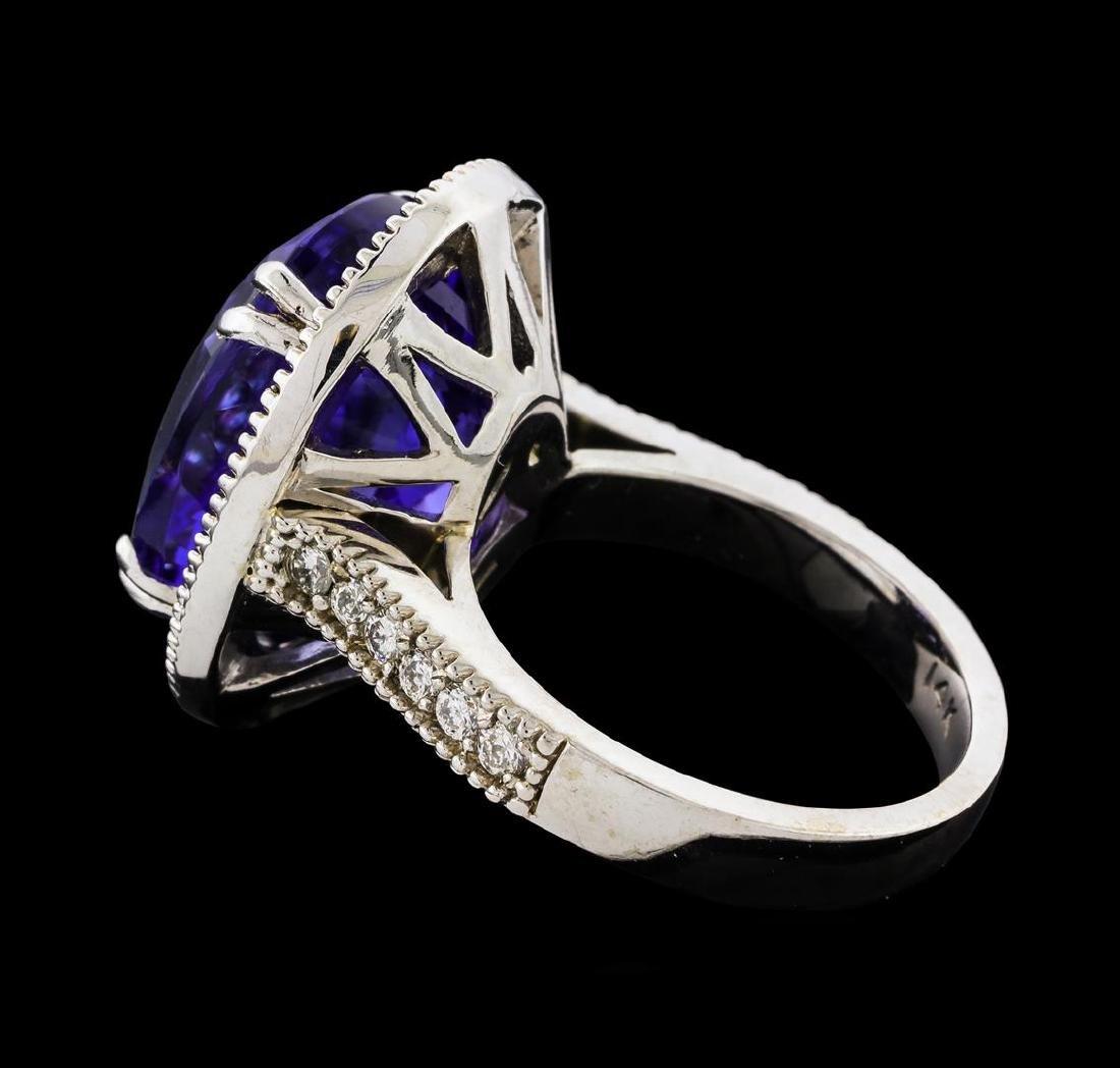 GIA Cert 15.48 ctw Tanzanite and Diamond Ring - 14KT - 3