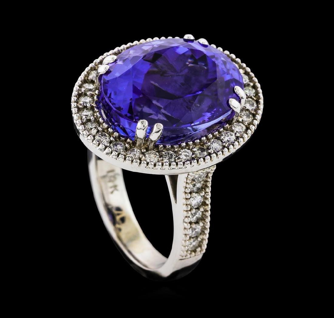 GIA Cert 15.48 ctw Tanzanite and Diamond Ring - 14KT - 4