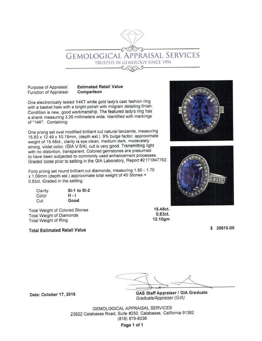 GIA Cert 15.48 ctw Tanzanite and Diamond Ring - 14KT - 5