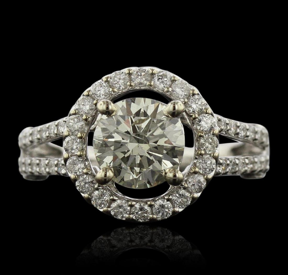 14KT White Gold 1.52 ctw I-1/Very Light Yellow Diamond