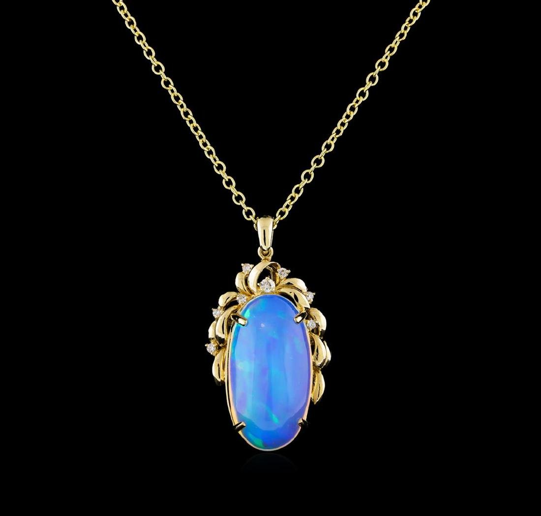 15.66 ctw Opal and Diamond Pendant With Chain - 14KT